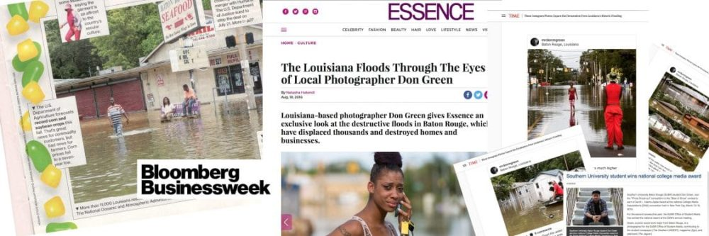 Mr Don M Green Coverage of Baton Rouge Louisiana Flood, in Bloomberg Magazine, Essence and Time